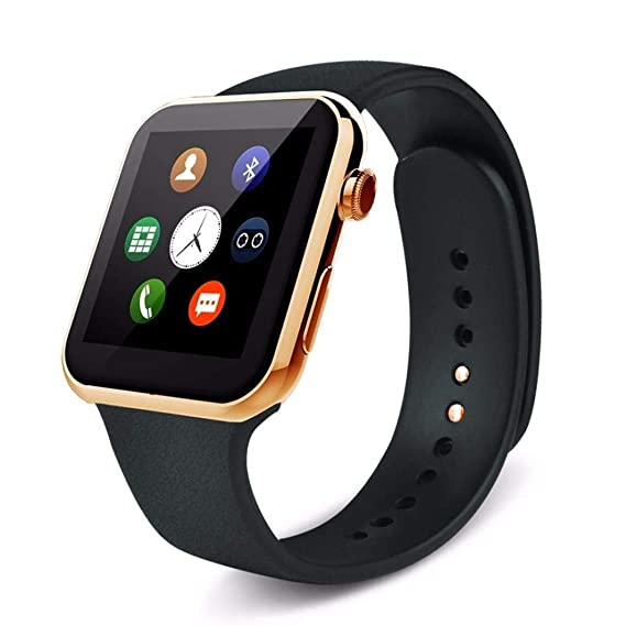Amazon.com: A9 Golden Bluetooth SmartWatch Touch Screen ...