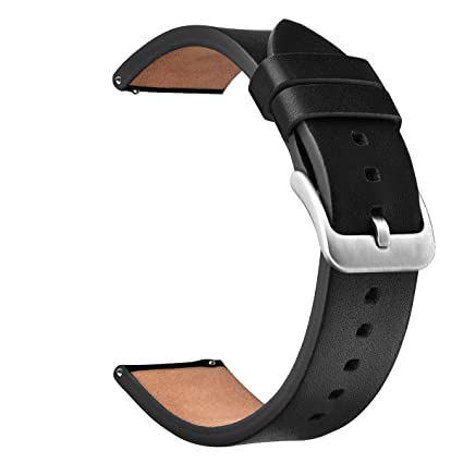 V-MORO Black Band Compatible with Galaxy Watch 46mm Band/Gear S3 Classic/Frontier Bands 22mm Leather Strap with Stainless Steel Buckle for Samsung ...