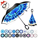 : ZOMAKE Double Layer Inverted Umbrella Cars Reverse Umbrella, UV Protection Windproof Large Straight Umbrella for Car Rain Outdoor With C-Shaped Handle(Blue FlowerII)