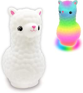 Alpaca Night Light for Kids Bedroom, Portable Rechargeable Llama Night Light Lamp with Timer, Children Nursery Light Touch Lamp Colorful LED Llama Gift