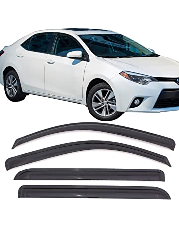 Window Visors Fits 2014-2017 Toyota Corolla | Dark Smoke Car Rain Sun Window Shade