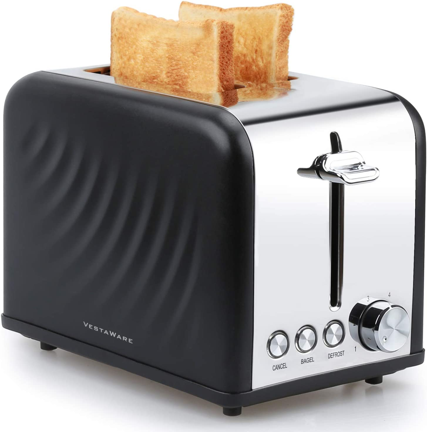 Toaster, Vestaware Extra Wide Slot Toaster 2 Slice – Bagel Defrost Cancel Function, 6 Bread Shade Kitchen Toaster with Removable Crumb Tray for Bread Waffles, Stainless Steel