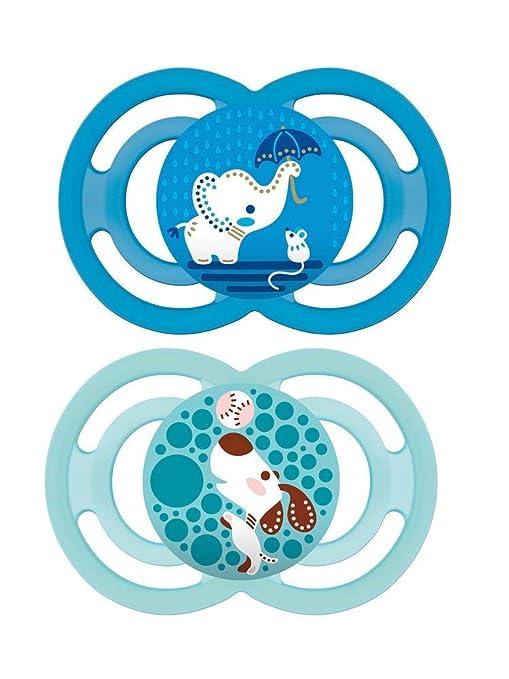 MAM Panaché Set de 2 chupetes Perfect de silicona en caja esterilización 18 + Meses – Modelo Aleatorio