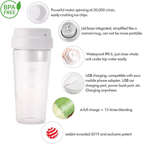 Portable Blender,Travel Blender,Smoothie Blender,Personal Size Blender,Germany Red Dot Design Award Waterproof IPX6 FDA BPA Free Rechargeable Juicer Small Blender Cup to make Juice Milk Shake Baby Food
