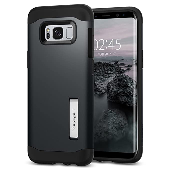 online store 4a973 4ae93 Spigen Slim Armor S8 Case with Air Cushion Technology and Hybrid Drop  Protection for Samsung S8 (2017) - Metal Slate