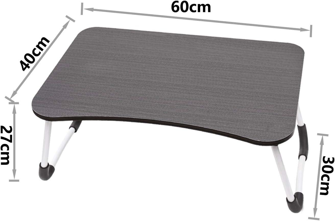 Bianco Vasen Tavolino da Letto Colazione Pieghevole Tavolo Letto Regolabile e Portatile per Laptop Pc Supporto Notebook Computer Tablet 70x40x28cm