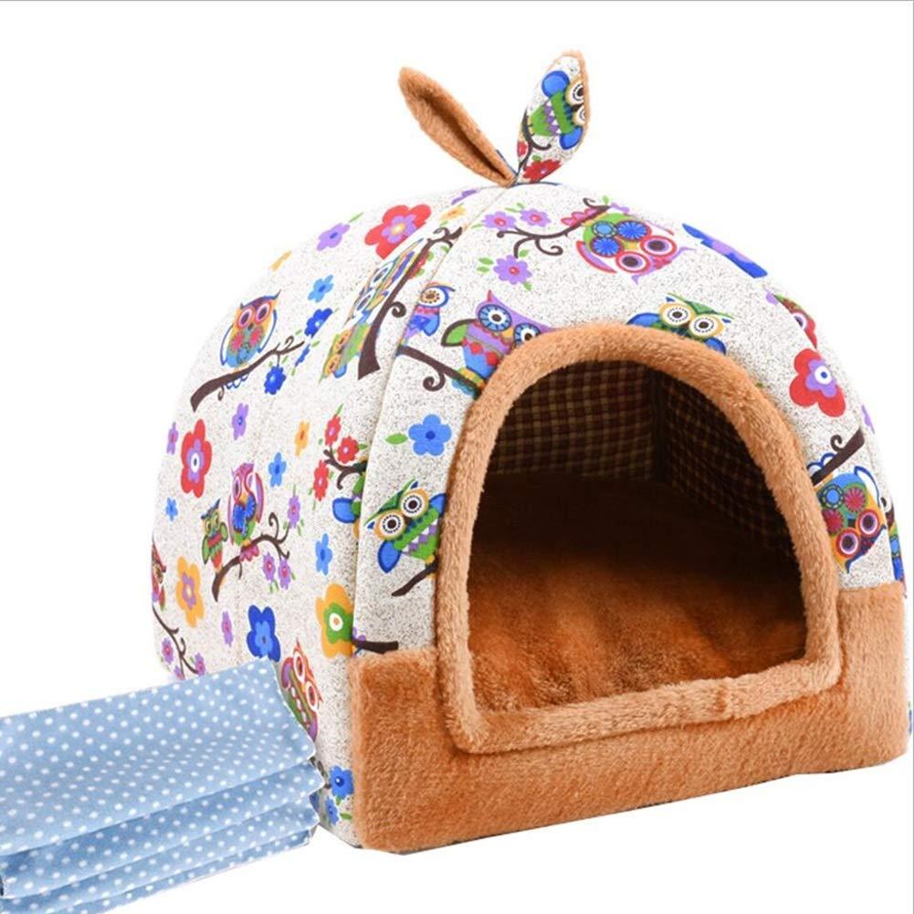 犬小屋猫のトイレ砂のウサギの巣パオ冬の小型犬のペットの巣、毛布で閉じた猫用品 (Color : B) B