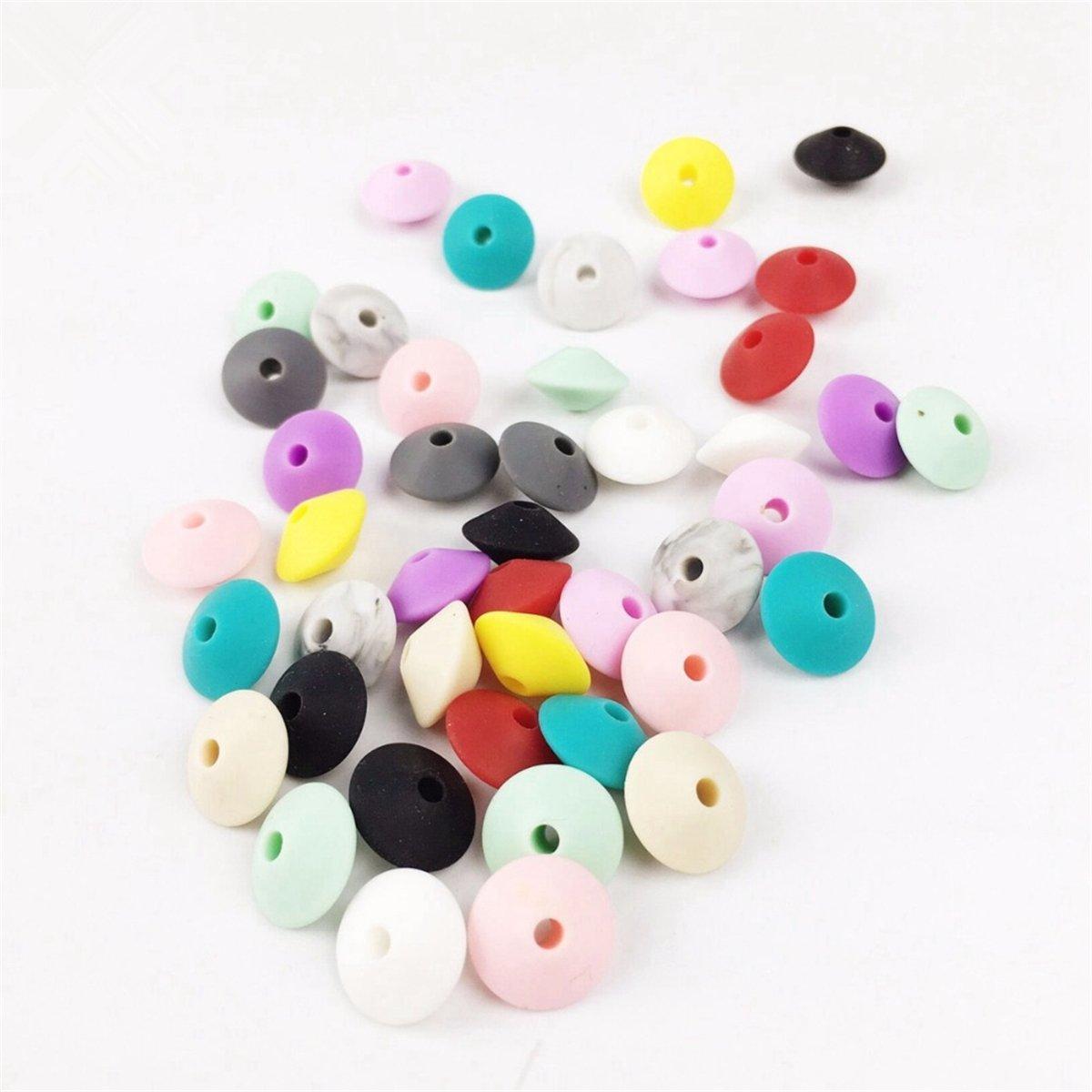 Mamimami Home Silikon Korne für Beißring Mischungsfarbe 50pc Großes 17mm Purpurrotes Geometrisches Sechseck DIY Halskette Armband Baby Zahnenkorn