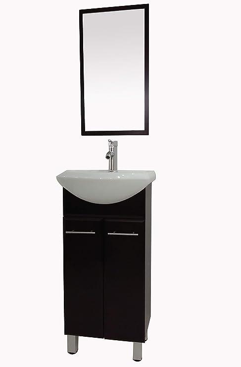 Amazon Com 22 Assembled Water Proof Pvc Floor Mounted Bathroom Vanity White Ceramic Vessel Sink With Mirror Dark Brown Kitchen Dining
