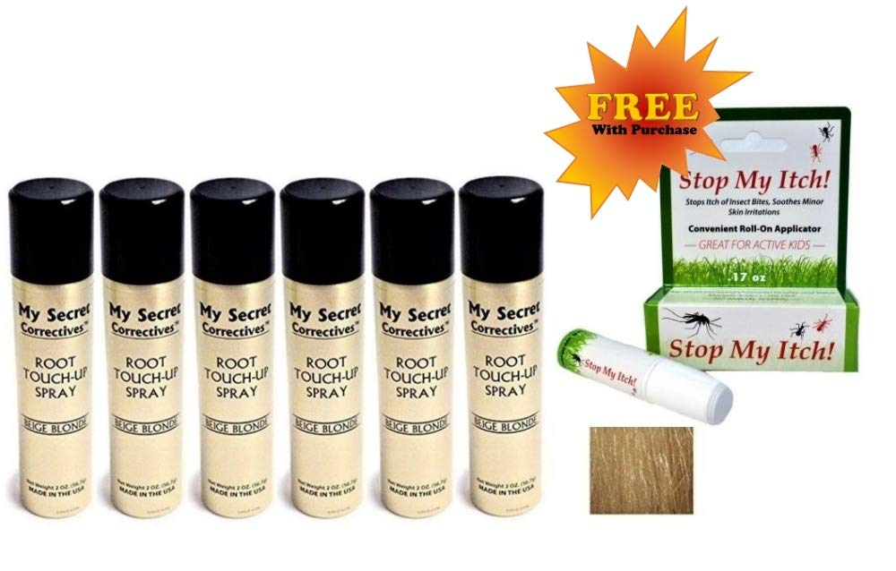 My Secret Correctives Root Touch-Up Natural Highlight Spray - 2oz each - 6 Cans - BEIGE BLONDE- PLUS FREE Stop My Itch! BONUS! by My Secret Correctives