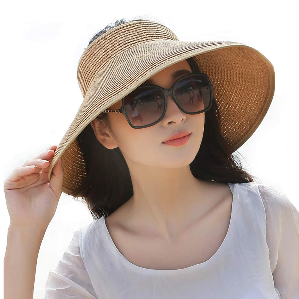 Visor Wide Brim Sun Protection for Women w/Bowtie UV Protection Beach Cap (Khaki)