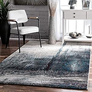 midnight fog abstract grey area rugs 8 feet by 10 feet 8u0027 x 10u0027 - Grey Area Rugs