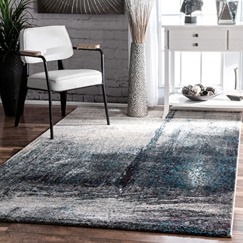 Contemporary Midnight Fog Abstract Grey Area Rugs, 4 Feet 1 Inch by 6 Feet (4' 1