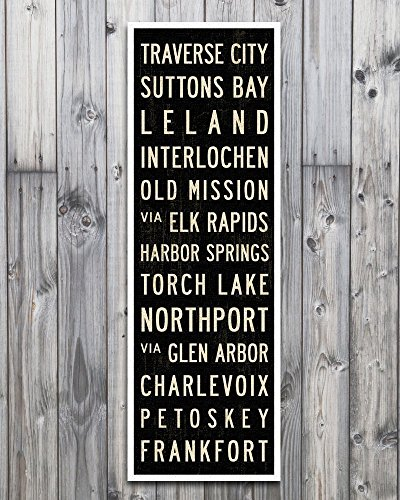 Michigan Art Poster, Subway Sign, Lake House Cabin Wall Décor, Stretched Canvas. 12 x - Canvas 36 Transitional