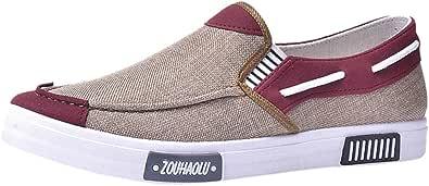 HoSayLike Zapatos De Hombre Casual Moda Lienzo Zapatos Planos Transpirable Comodo Suave Slip-On Zapatos Ligeros Todos Los Dias Al Aire Libre Fiesta Trabajo