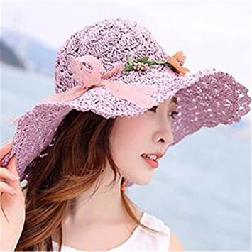 2a88d494418 RangYR Women Hat Summer Fall Straw Hat Holiday Visor Sun Hat Collapsible  Sun Protection Wide-