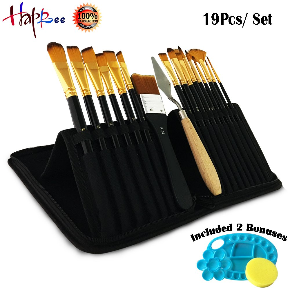 Happlee 19 Pcs Paint Brush Set, Round Pointed Tip with Mixing Knife, Sponge and Plastic Paint Palette for Artist Acrylic Watercolor Oil Painting