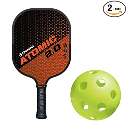 Gamma Atomic 2.0 Black/Burnt Orange Composite Nomex Honeycomb Pickleball Paddle Kit Bundled with (