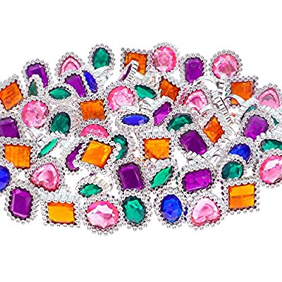 YIQIHAI 180pcs Plastic Jewels Rings Colorful Rhinestones Gems Toy Ring for Kids, Pirate Party Supplies, Bridal Shower Game, Pirate Treasure, Mermaids and Birthday Parties: Toys & Games