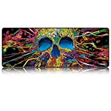 LIEBIRD Vintage Style CA/Canada Flag Mouse Mat Extended Xxxl Gaming Mouse Pad 31.5Lx11.8W (Skull)