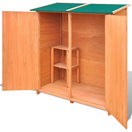 Tidyard Large Outdoor Garden Wood Storage Shed Garden Tool Shed Storage  Room With Wood Stool