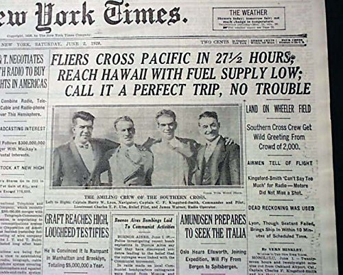 1st TRANS-PACIFIC Airplane Flight HAWAII Charles Kingsford Smith 1928 Newspaper THE NEW YORK TIMES, June 2, 1928 (Trans Pacific Flight)