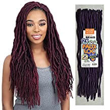 Model Model Synthetic Hair Crochet Braids Glance 2X Soft Medium Faux Loc Lite Wavy 18 (1B) by Model Model