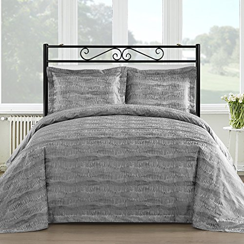 Comfy Bedding Silk Feel Cotton Blend 450 TC 3-piece Duvet Cover Set (Queen, Gray)