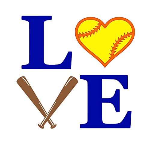 4b55a073d756 Amazon.com: Softball LOVE Decal Sticker with Name & Bow for Laptop ...