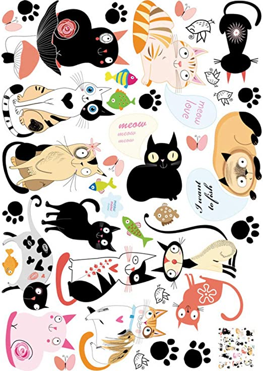 Etiqueta de la pared Gato Animal Pegatinas De Pared Diy Lindo ...