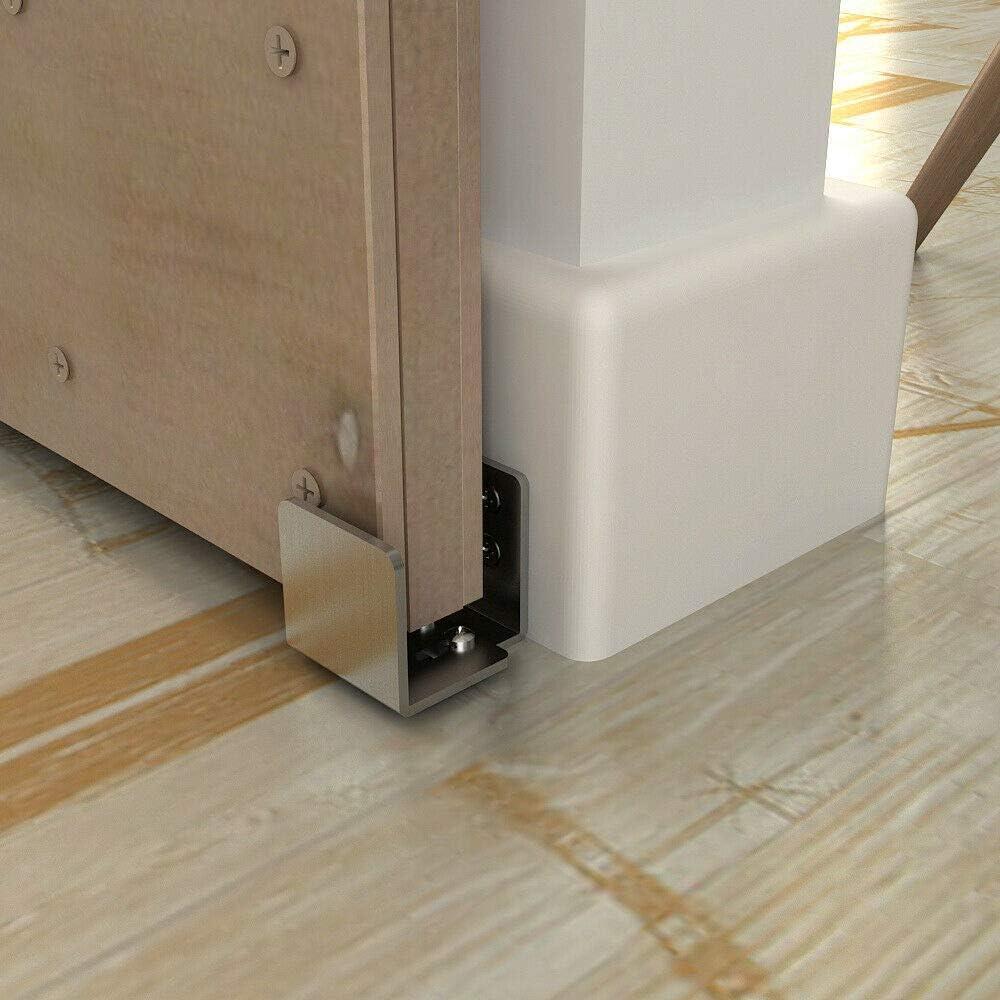 JUGREAT Sliding Door Hardware Stainless Steel Floor Guide Wall Mount Sliding Barn Door Hardware Up to 1-3//4W 1-7//8H