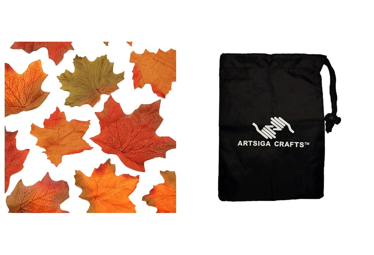 Darice Thanksgiving Maple Leave w/ Copper Glitter 90/Canister (18 Pack) 3100 701 bundled with 1 Artsiga Crafts Small Bag