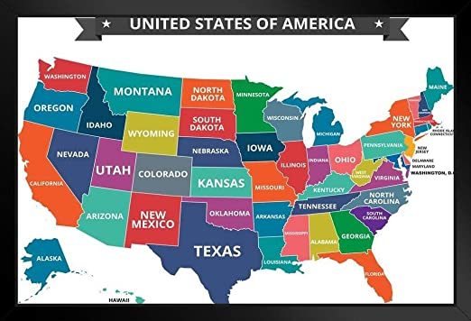 Amazon Com Multi Colored Map Of The United States Usa Classroom