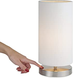 """Kira Home Lucerna 13"""" Round Touch Bedside LED Table Lamp, Energy Efficient, Eco-Friendly, White Canvas Shade"""
