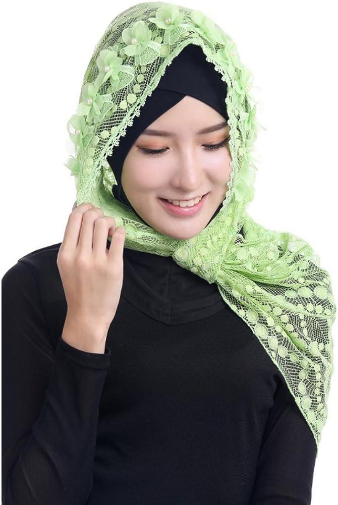 Hougood Hijab Kopftuch Muslim Hijab Schal f/ür Damen Hijab Fertig Frauen Muslim Kopftuch Hijabs Cap M/ädchen Spitze Hijabs Schals Cape Wickel Hijab Arabia Islam Turban Hijab Kopfst/ück 125cm x 48cm