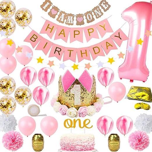 Guirnalda de globos de cumpleaños para bebé o niña, 1 juego ...