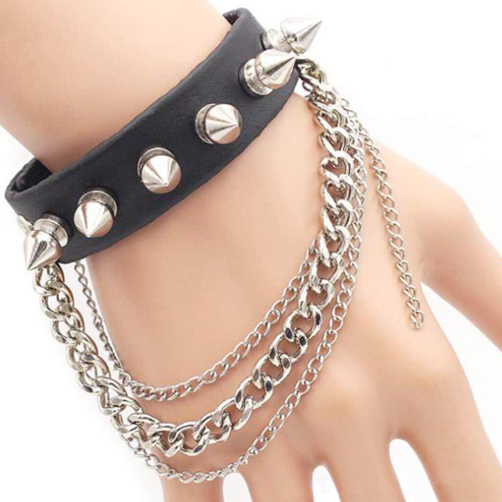 Huture Leather Bracelet Gothic Chain Rivet Bracelet Hip Hop Alloy Chain Metal Spike Studded Rivet Wristband Adjustable Punk Rock Rivet Wrap Cuff Bangle Bracelet Set for Men Women, Black