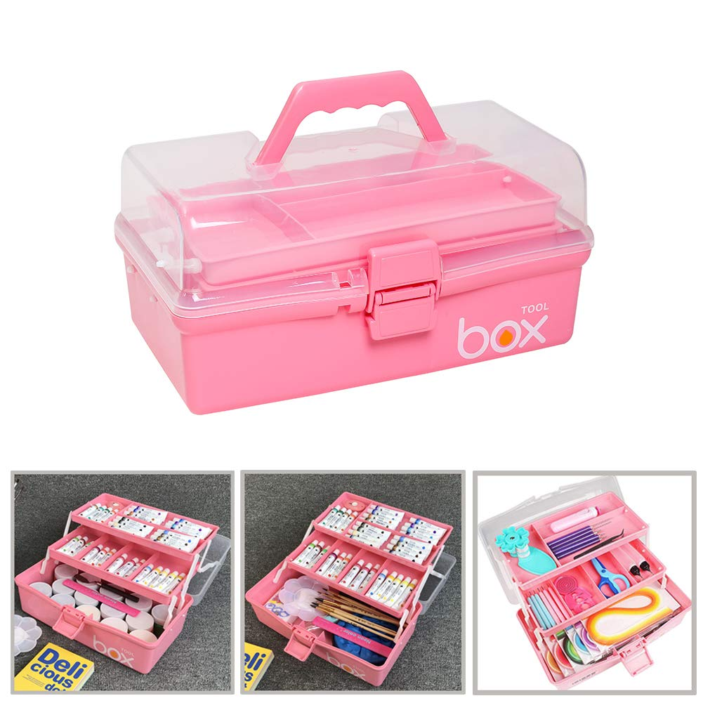 Multipurpose Portable Handled Organizer Storage Box for Quilling Sewing /& Bead Collections Pink Art Supply Craft Storage Tool Box