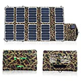 SUNKINGDOM trade; 65W USB Port Solar Charger with High-efficiency Portable Foldable Solar Panel PowermaxIQ Technology for iPhone, iPad, iPod, Samsung, Camera, and More (Camouflage)