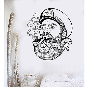 Vinilo fresco tatuajes de pared marinero barba de la onda náutica ...