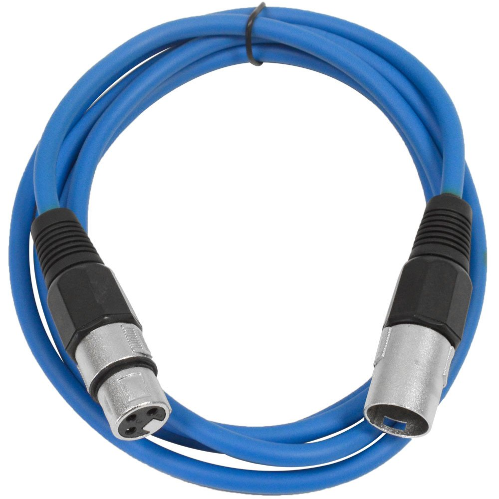 SEISMIC AUDIO - SAXLX-6 - 6' Blue XLR Male to XLR Female Patch Cable - Balanced - 6 Foot Patch Cord