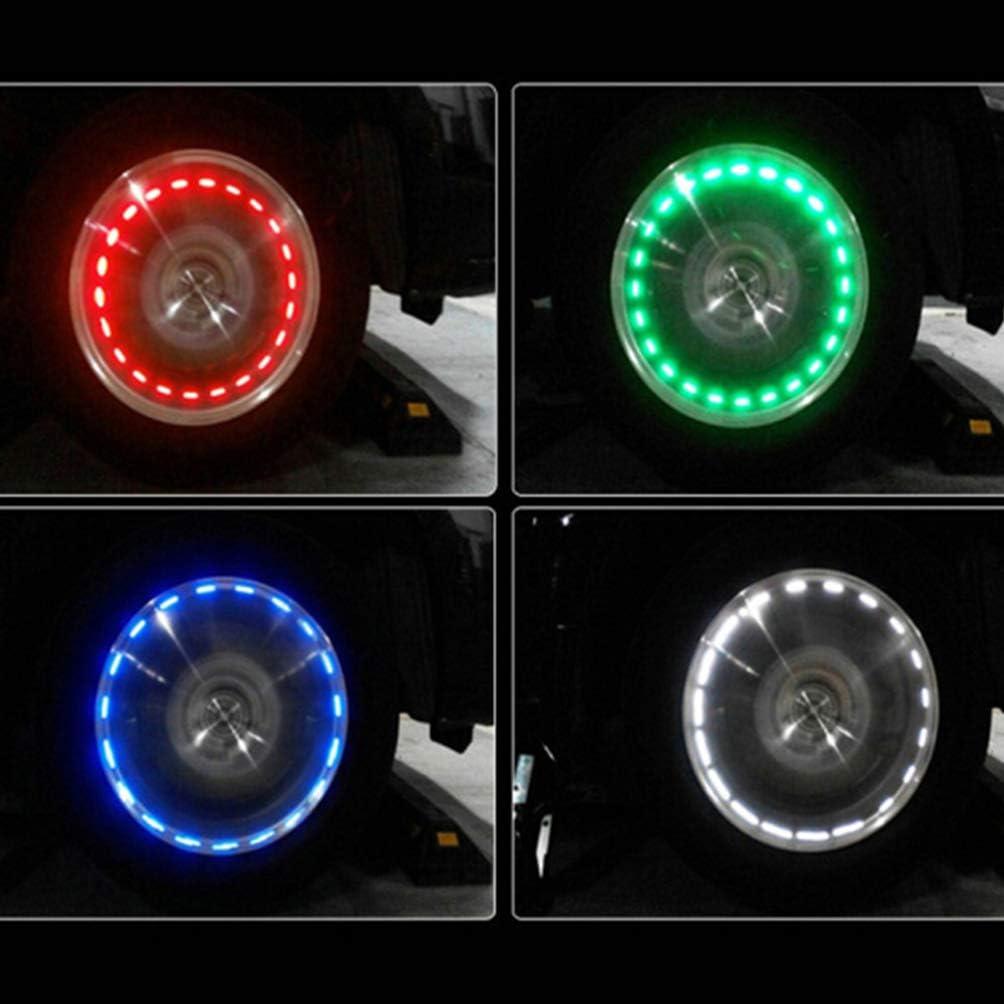 4 colors Decorative Waterproof Strobe Lamp Tire Light Wheel Light Valve Cap Light for Car Motorcycle Vehicle Auto Wakauto Car Solar Wheel Light 4pcs