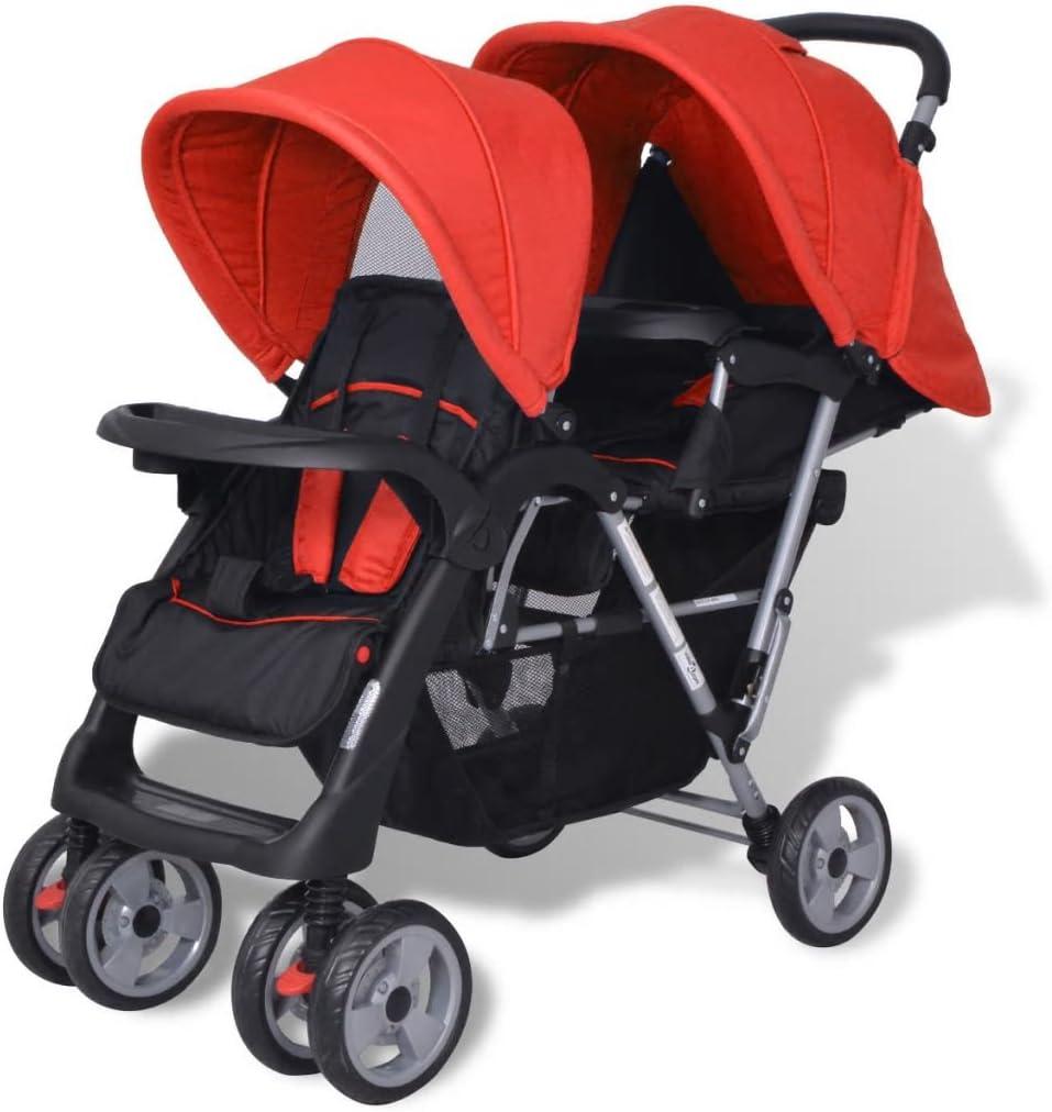 mewmewcat Plegable Silla gemelar para Gemelos y Hermanos Carrito Gemelar Silla de Paseo Cochecito de Bebé Capacidad 118x41x108cm Rojo y Negro
