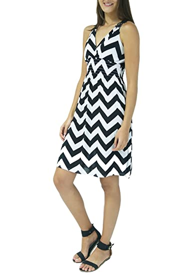 a0ce4a67ebb Glam City Women s Dress Short Sundress Chevron Lace (L