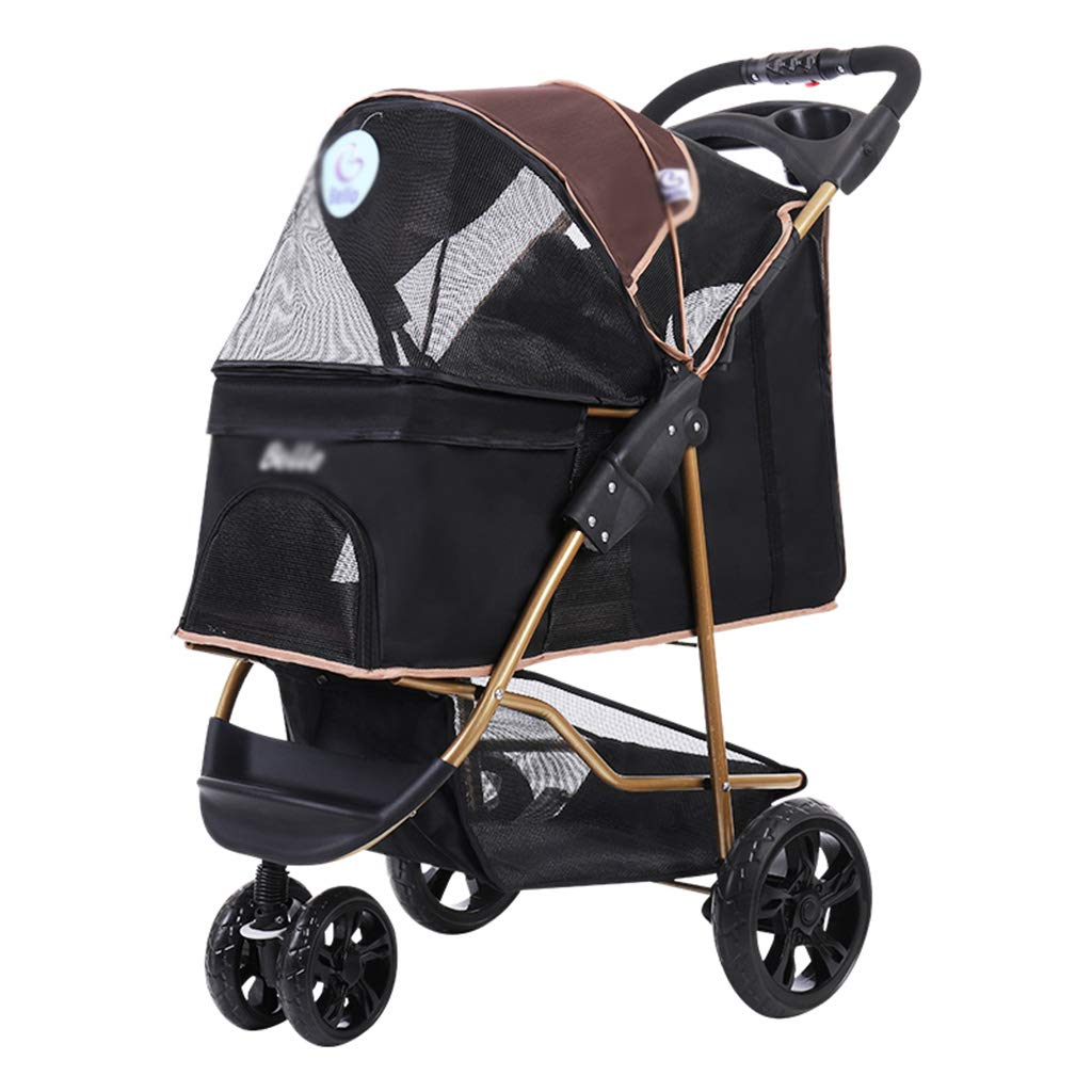Brown SJY Stroller Light Foldable Pet Trolley Medium Dog Cat Teddy Stroller Cage Three Rounds Stroller Outdoor Travel Pet Stroller Breathable High Capacity Trolley,Brown