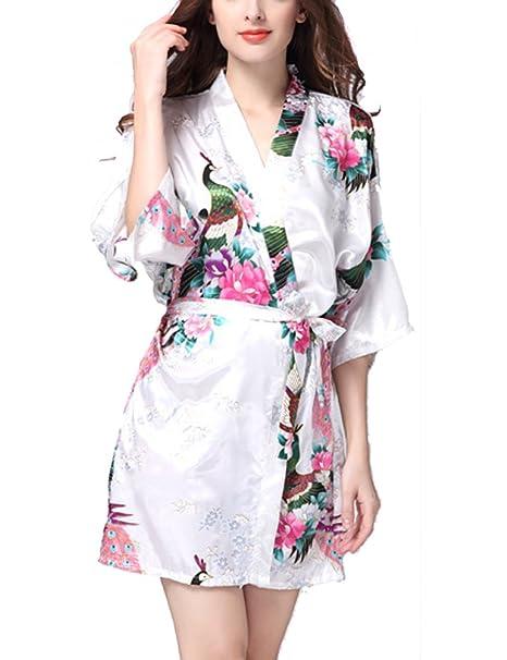 5012277bcb Très Chic Mailanda Kimono Pigiama Donna Camicia da Notte Vestaglie Corte  Scollo a V con Cintura