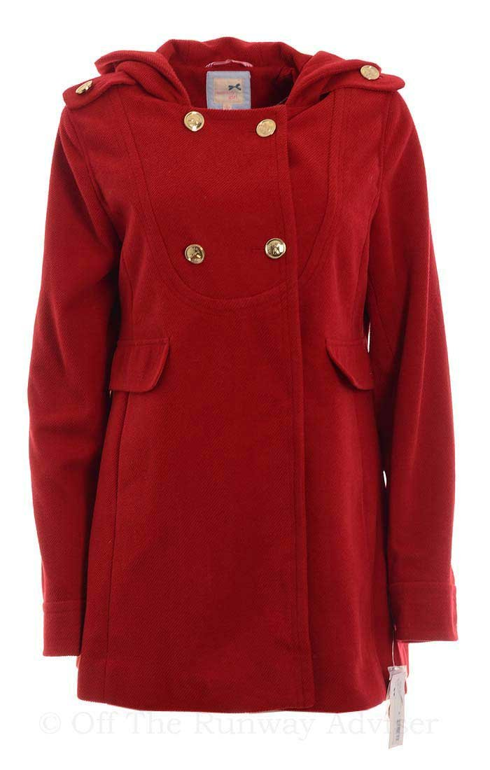 Tommy Girl Juniors Double-Breasted Hooded Trench Coat, Cardinal Red, Juniors Large by Tommy Hilfiger (Image #1)