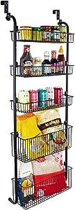 Over Door Organizer Large 5-tier Pantry Kitchen Bathroom Black Spice Back Hanging Storage Metal Rack Shelf Basket Closet Shelving Smart Design, 18 inches (W) X 52 inches (H)