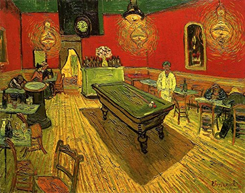 Wieco Art The Night Cafe in the Place Lamartine in Arles Classic Canvas Prints Wall Art by Van Gogh Famous Abstract Oil Paintings Reproduction Framed Artwork Picture for Kitchen Home ()