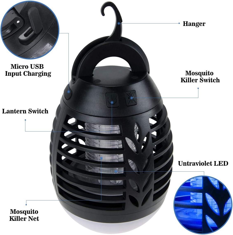 BACKTURE Lámpara Antimosquitos, IPX6 Impermeable 2 en 1 Linterna de Camping, Electrico Repelente Mosquito Insectos con 2200mAh Recargable USB y 3 brillo de Luz para Camping, Jardin, La pesca (S): Amazon.es: Iluminación